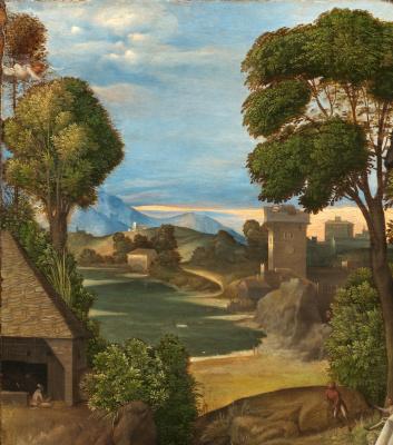 Giorgione. Adoration of the shepherds. Fragment: landscape