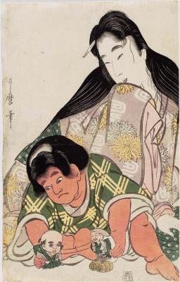 Китагава Утамаро. Ямауба наблюдает за играющим Кинтаро