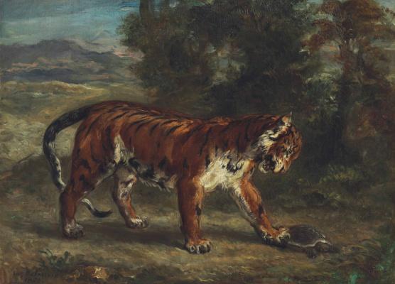 Эжен Делакруа. Тигр, играющий с черепахой