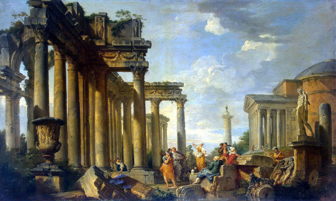 Джованни Паоло Паннини. Проповедь сивиллы в римских развалинах со статуей Аполлона