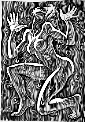 "Vladimir Kataev. ""The dance of summer rain-2"", linocut, 65Х45, 2011"