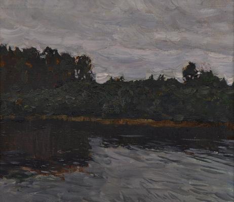 """Vyacheslav Andreevich Fedorov. """"Dark lake"""",1970, h/m, 33,5х36,5"""
