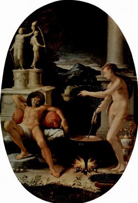 Girolamo McCetti. Medea and Jason. Oval