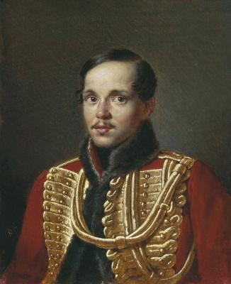 """Vasily Grigorievich Perov. Portrait Of Mikhail Lermontov. A copy of the original P. E. Zabolotsky"""""""