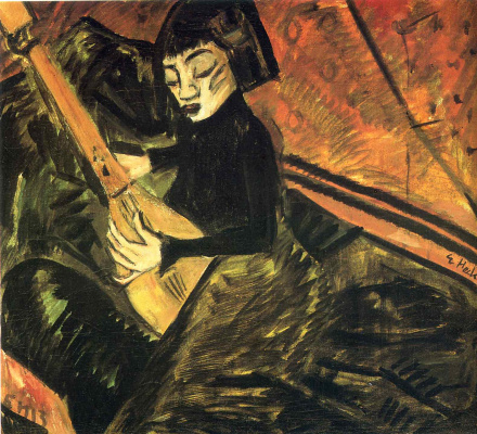 Erich Heckel. Girl playing the lute