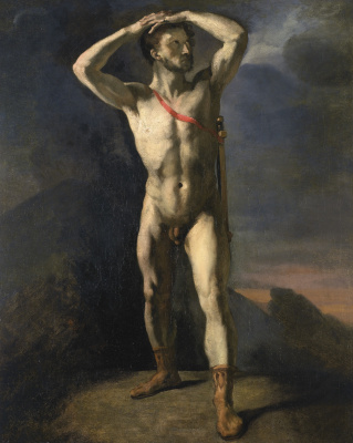 Théodore Géricault. Academic study of standing naked with a sword