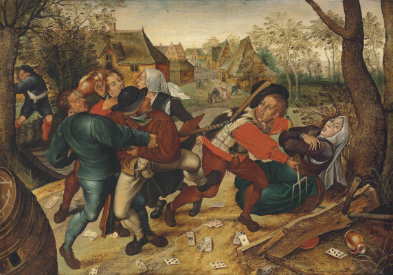 Peter Brueghel The Younger. Fight the peasants playing cards