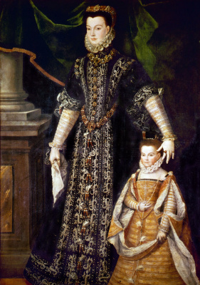 Sofonisba Angisola. Portrait of Diana d'Andouine and her daughter Katharina