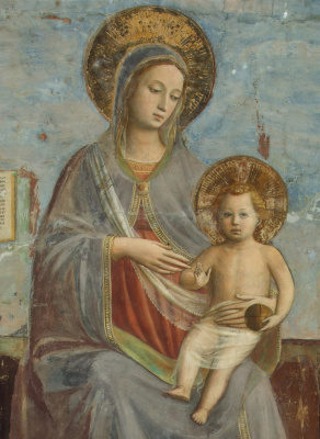 """Fra Beato Angelico. Madonna and Child. Fragment of the fresco """"Madonna and Child, Saints Domenic and Thomas Aquinas"""""""