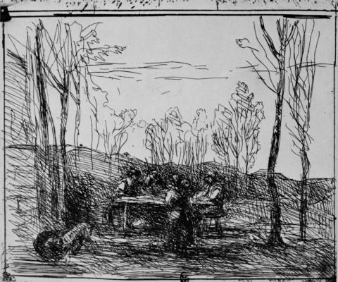 Camille Corot. Halt on the glade