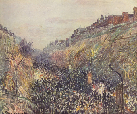 Camille Pissarro. Carnival on the Boulevard Montmartre at sunset
