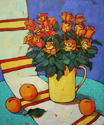 Dina Dmitrievna Kalinkina. Red still life with roses
