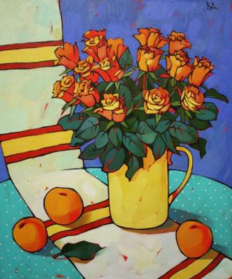 Dina Dmitrievna Kalinkina. Red still life with roses