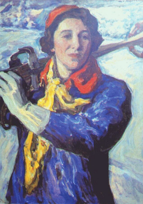 Leonid Osipovich Pasternak. With skis