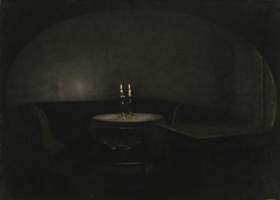 Vilhelm Hammershøi. Interior. Artificial lighting