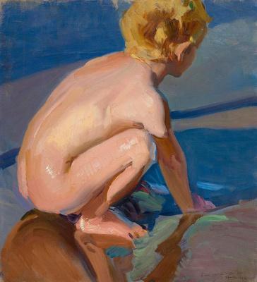 Хоакин Соролья (Соройя). Ребёнок на корточках. Пляж в Валенсии