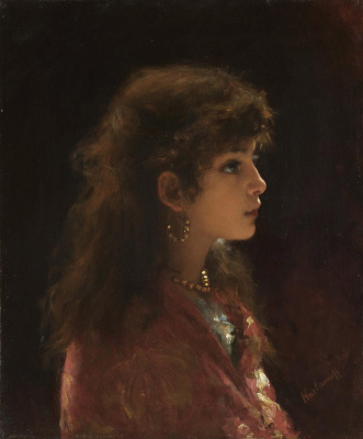 Alexey Alekseevich Kharlamov. Young girl in profile.