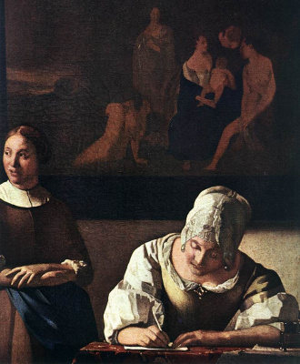 Jan Vermeer. Lady writing a letter with her maid. Fragment
