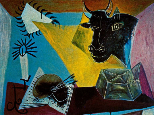 Pablo Picasso. Still life with head of black bull