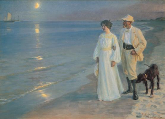 Peder Severin Kreyer. Summer evening on the Skagen beach. The artist and his wife