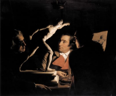 Joseph Wright. Three people examining a gladiator by candlelight, 1765