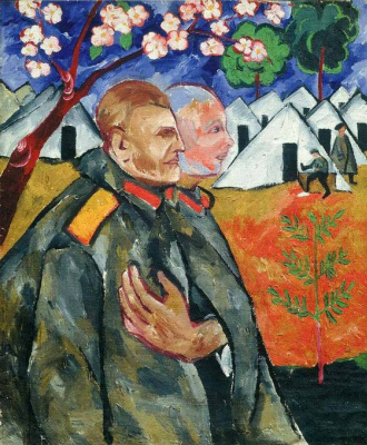 Natalia Goncharova. Portrait of M. F. Larionov and his platoon