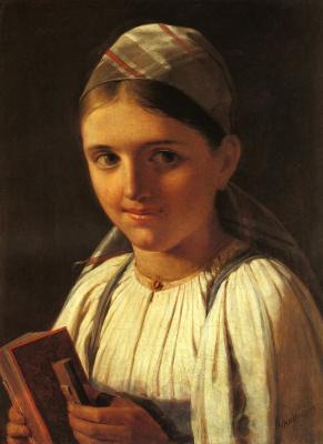 Алексей Гаврилович Венецианов. Девушка с гармошкой