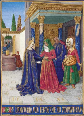 "Jean Fouquet. The meeting of Mary and Elizabeth. Miniature from ""book of Hours of étienne Chevalier"""