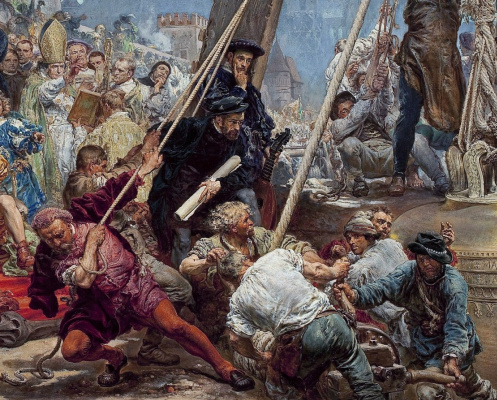 Jan Matejko. Suspension of the bells of Zygmunt to the tower of the cathedral in Krakow in 1521. Fragment III