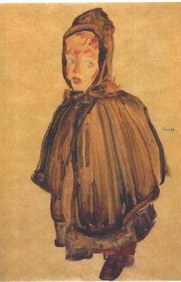Egon Schiele. Portrait of a girl in a cloak