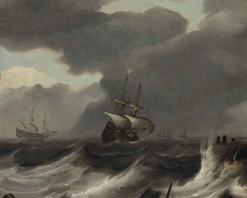 Ian Porcellis. Ships in a storm off the coast