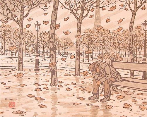 Анри (Henri) Ривьер (Rivière). Сад Трокадеро, осень (Des jardins du Trocadéro, l'automne)