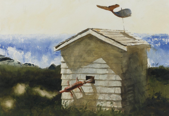 Jamie Wyeth. Electrical substation on the island