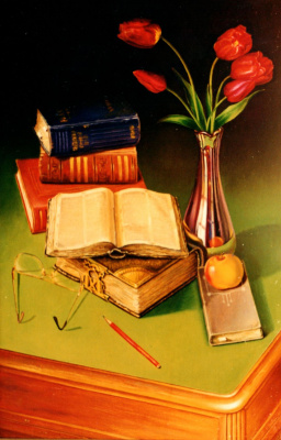 Vladimir Vasilyevich Abaimov. Still-life with the Bible
