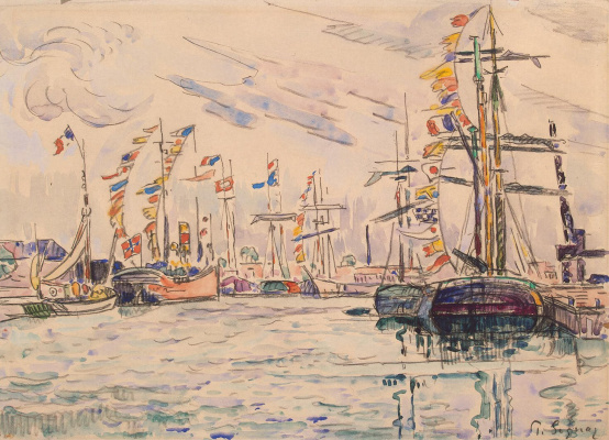 Paul Signac. Sailboats with holiday flags on the masts at the pier in Saint-Malo