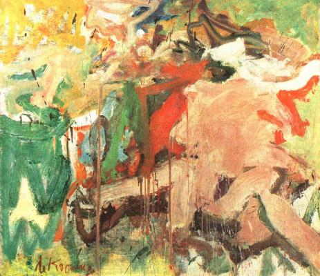 Willem de Kuning. Two figures in a landscape