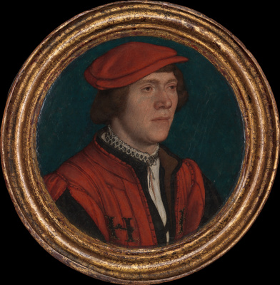 Hans Holbein The Younger. Portrait of a man in a red hat