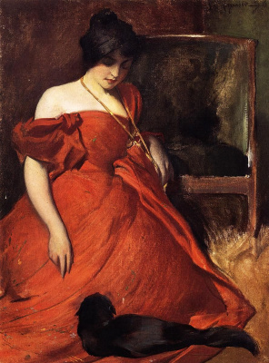 John White Alexander. Black and red