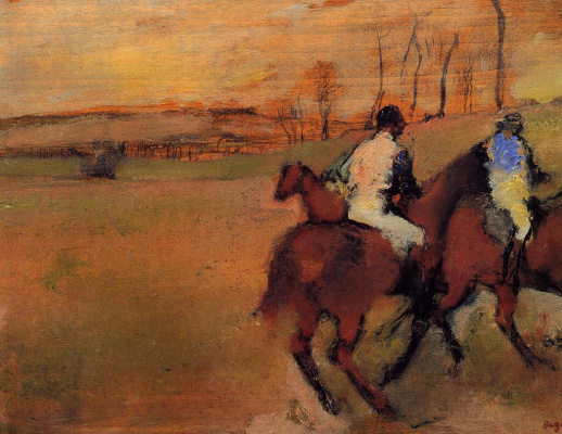 Edgar Degas. Jockeys and horses