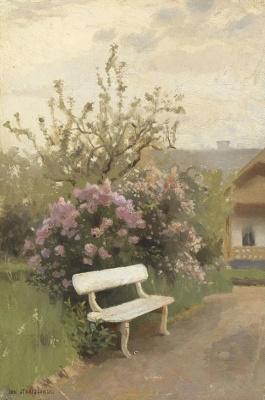 Jan Stanislavsky. White bench in the garden