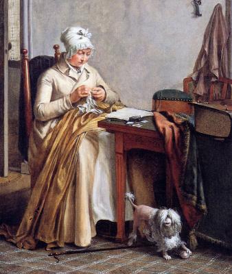 Вубранд Хендрикс. Интерьер с вышивающей женщиной