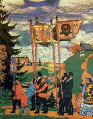 Boris Mikhailovich Kustodiev. Procession. The thumbnail option. Fragment