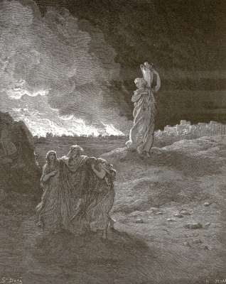 Paul Gustave Dore. Bible illustrations: Lot's family leaves Sodom