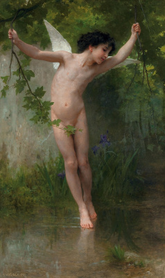 William-Adolphe Bouguereau. Cupid hanging above the water