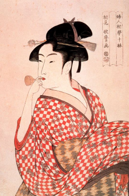 Китагава Утамаро. Девушка дующая в свисток