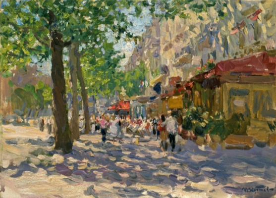 Yuri Krotov. Boulevard Saint-Germain. 2005 61х71 Oil on canvas.