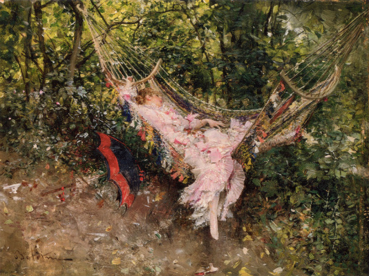 Giovanni Boldini. Girl in hammock
