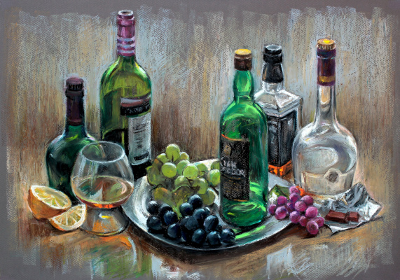 Michael Neufeld. Glass and grapes used.oil.pastel, see 42х61, 2015