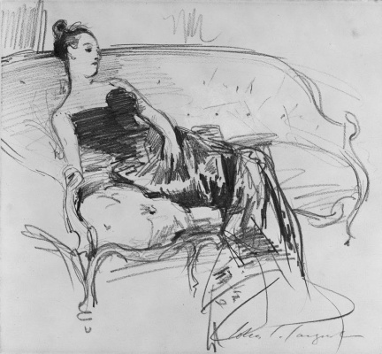 John Singer Sargent. Madame Gotra on the couch