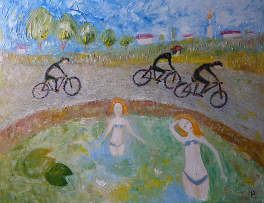 Svyatoslav Ryabkin. Cyclists and bathers Cyclists and Bathers